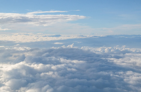 Beautiful blue sky and cloud view from airplane.