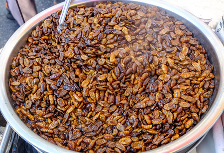 Beondegi snack food sold in every market in Korea. Beondegi are steamed or boiled silkworm pupae which are seasoned and eaten as a snack.