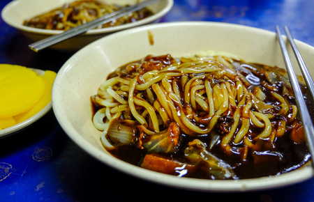 Jajangmyeon, jjajangmyeon (Noodles in Black Bean Sauce) is a Korean Chinese noodle topped with a thick sauce made of chunjang, diced pork and vegetables. This sweet and savory noodle dish is popular korean food.