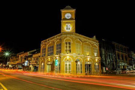 Phuket clock tower ,Chino-Portuguese clock tower  was build in 1914  in phuket old town Thailand. Night shot Stockfoto
