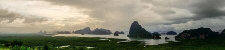 Panorama view of islands at SAMET NANG SHE, Phangnga bay, Thailand