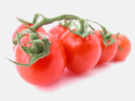 tomatoes against a white background - ready to eat!