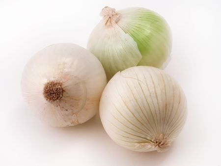white onions on a white background Stock Photo - 740048
