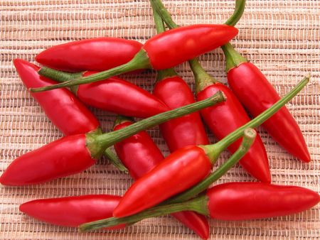 red chili on a bamboo background