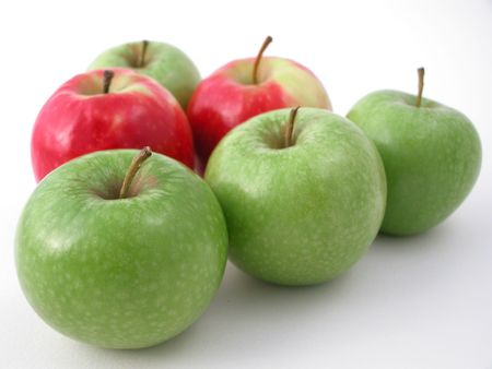 fresh crunchy red and green apples ready to eat! photo