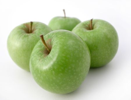 fresh crunchy green apples ready to eat! photo