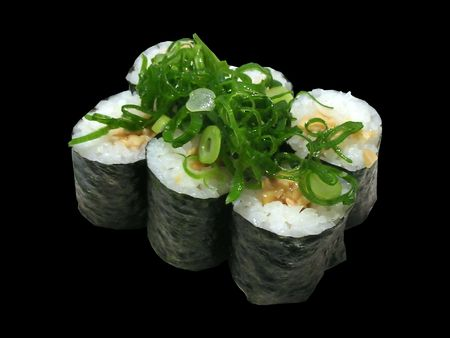 isolated pieces of natto sushi on a plain background