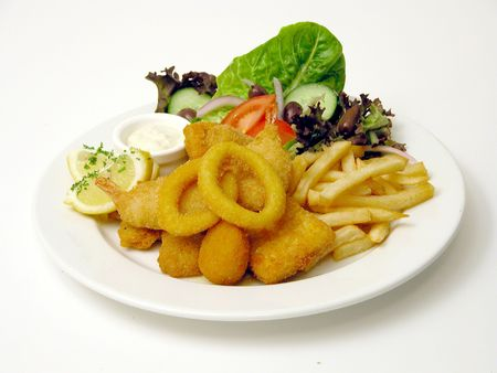 tartar: Fish and chips with tartar mayo and salad Stock Photo