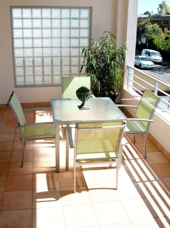 Balcony area in appartment Stock Photo