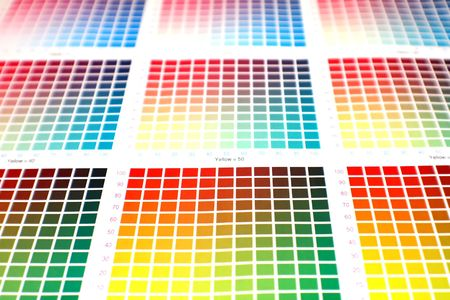 different color charts on white paper - pick your favourite! Stock Photo - 934095