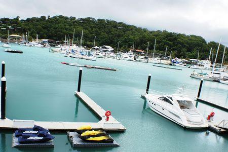 lots of boats parked on Hamilton Island Stock Photo