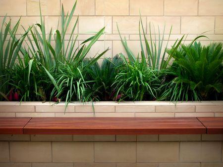 bench seat garden Stock Photo
