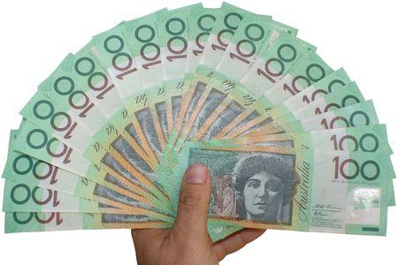 Australian money with hand
