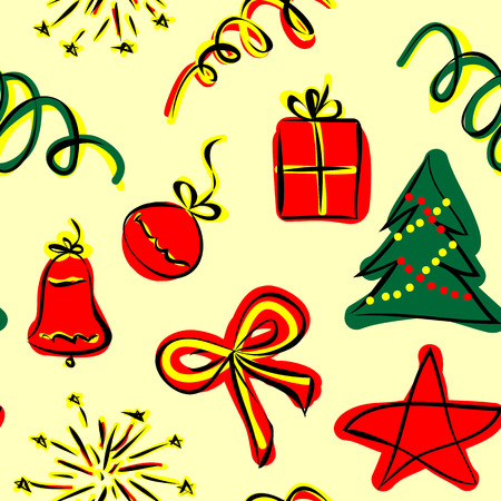 christmas characters: Seamless pattern with Christmas characters Illustration