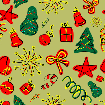 Seamless pattern with Christmas characters Illustration