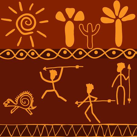 tribu: Escena de la caza tribu africana en un animal salvaje