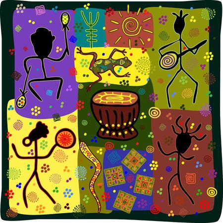 tribu: Patr�n en la danza estilo africano que representa a la tribu Vectores