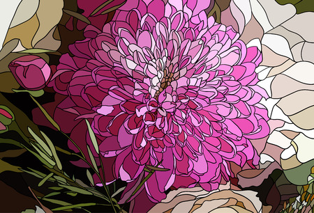 flower close up: Pink chrysanthemum flower close up, drawn in the style of mosaic illustration Illustration