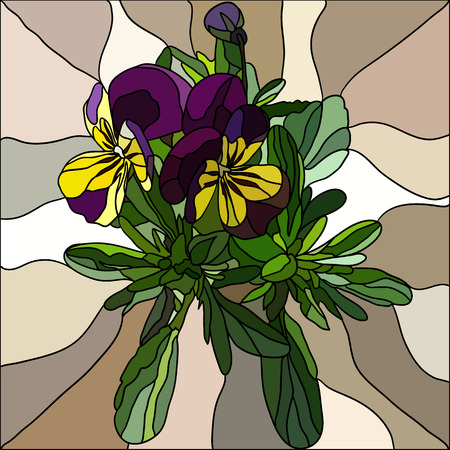 mosaic art: Background with flower Pansy made in mosaic style Illustration