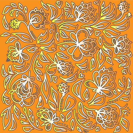 khokhloma: Yellow background in ethnic style Khokhloma.