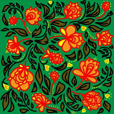 pastiche: Background in Khokhloma ethnic style illustration.