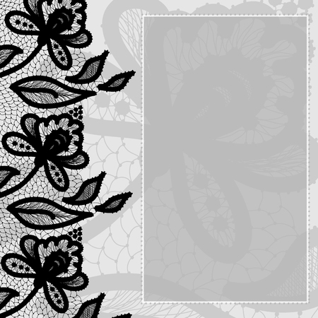 lace vector: Greeting card in retro style embellished with lace. Vector illustration.