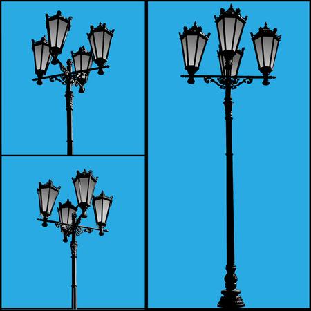 lighting column: Three lamppost