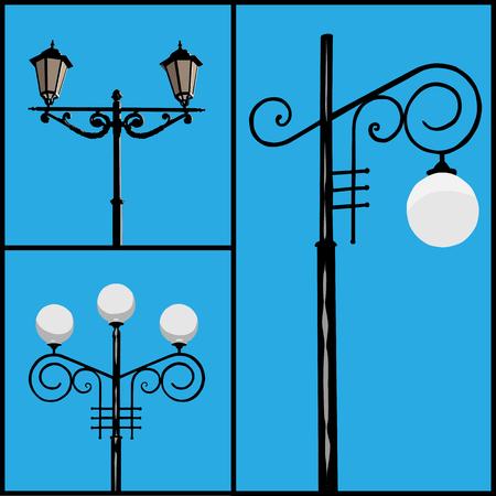 lighting column: Three lamppost different types