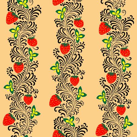 khokhloma: Seamless pattern in the style of Russian folk art Khokhloma
