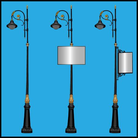 lighting column: set of street lamps illustration.