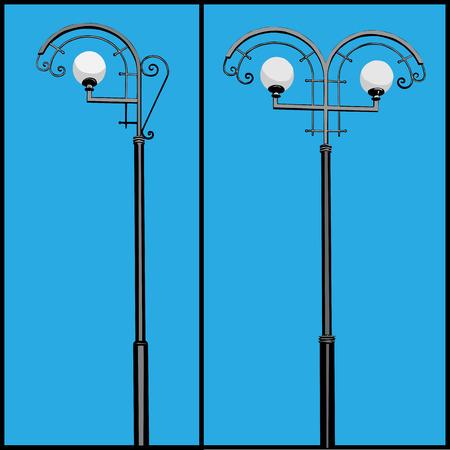 lighting column: Three lamppost different types illustration.