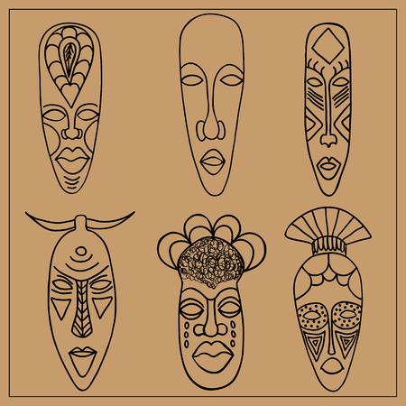 antiquities: A set of six African masks