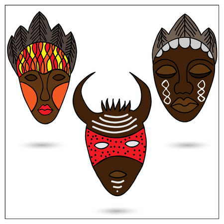 antiquities: The set of three African masks in color. Illustration