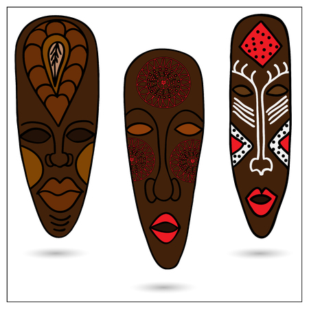 antiquities: Three African masks in color