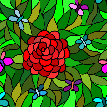 blue glass: Seamless pattern, red flower with butterflies, made in stained glass technique Illustration