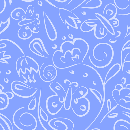 flower ornament: Seamless pattern simple flower ornament with blue background Illustration