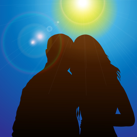 marriage night: Silhouette couples in the sunshine Illustration