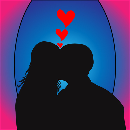 kissing: A silhouette of a kissing couple