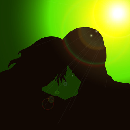 pairs: Silhouette pairs with the glare of the sun