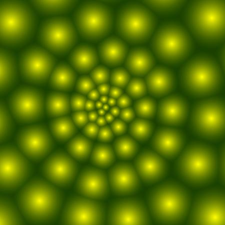 espiral: Modelo abstracto, una espiral de guisantes verdes bolas en la espiral