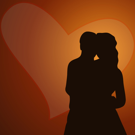 Silhouette couple on hearts background