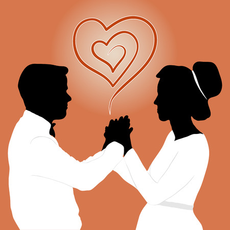 couple holding hands: Married couple holding hands, radiating love and affection. Vector illustration
