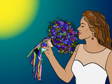 ordinance: Girl breathing in the aroma of a bouquet of flowers, the bride with a bouquet of flowers