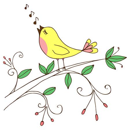 bird illustration: Background with bird singing on a tree branch; vector illustration. Illustration
