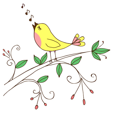 Background with bird singing on a tree branch; vector illustration. Illustration