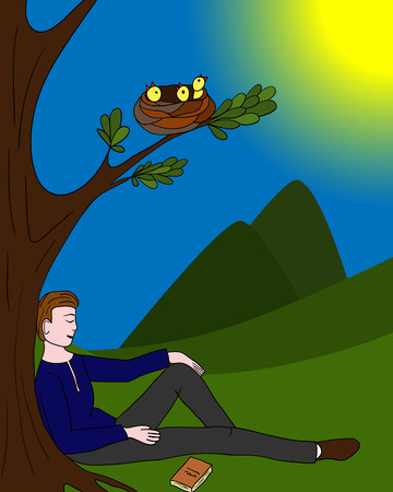 relaxed: Man sitting relaxed under a tree; a nest with Chicks; vector illustration.