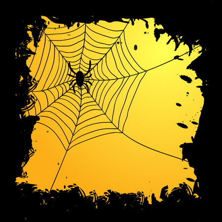 tattered: Card with tattered edges and spider web with spider for Halloween