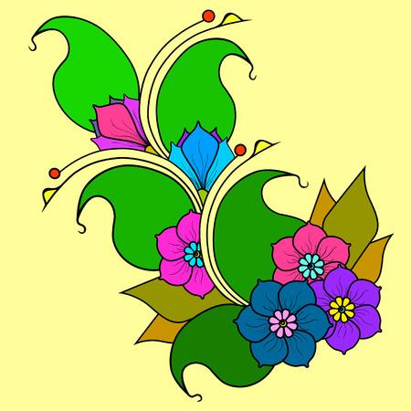 a sprig: Vector image. Branch with flowers, doodling flower color option.