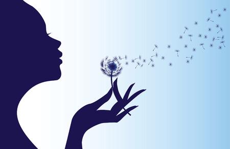 blowing dandelion: Silhouette di una donna che soffia il dente di leone