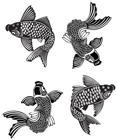 Ilustración vectorial de Koi peces en el estilo tradicional japonés de tinta Ilustración de vector